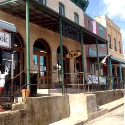 Street view of Fuel Coffeehouse, Llano, Texas
